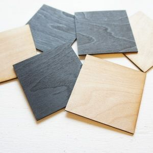 Black and Natural Wood Drink Coasters